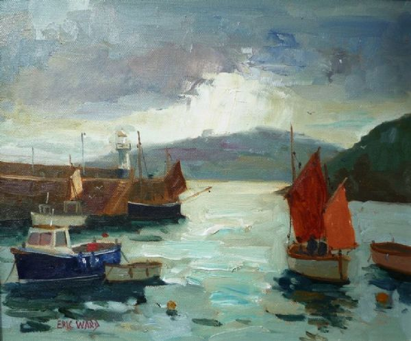 Eric Ward Sailing Gig at St Ives oil on canvas